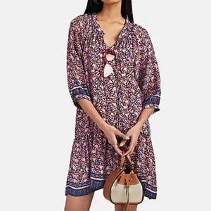 Natalie Martin Coral Print Silk Drop Waist Dress